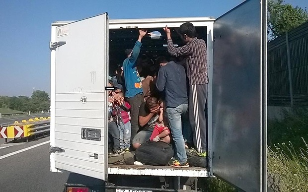 Shocking images show 86 migrants packed inside truck on Austria highway